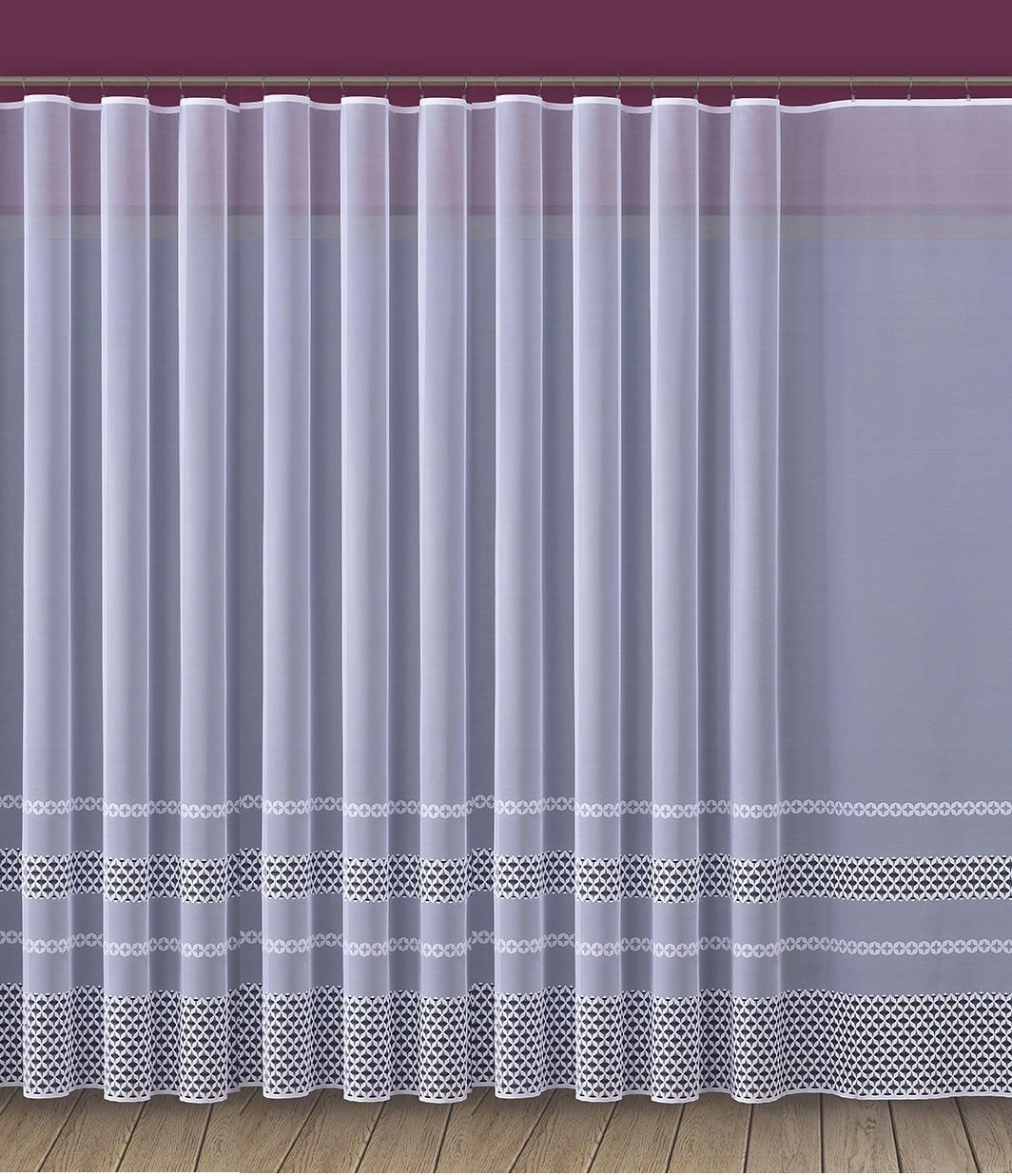 Firana żakardowa Z Szerokim Pasem Na Dole Nr 76224